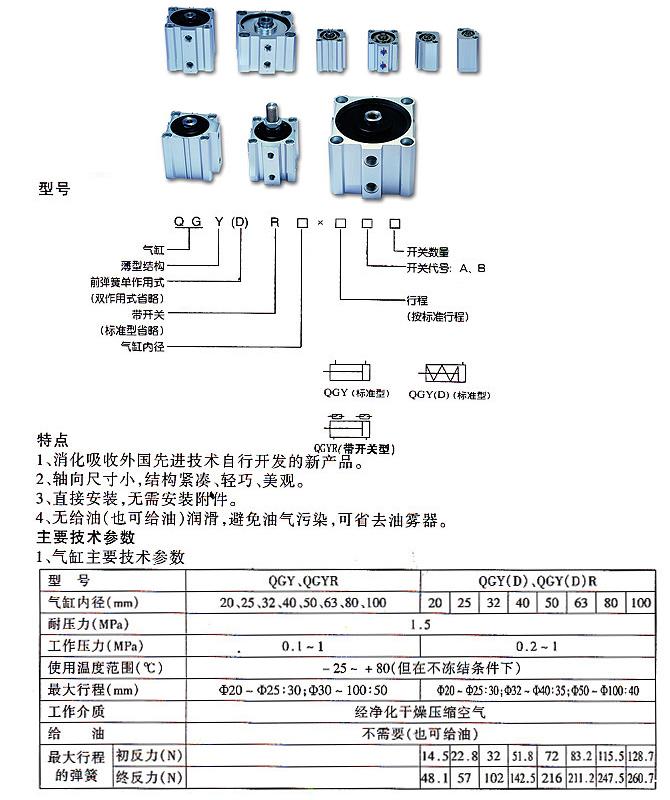 QGD、QGY薄型气缸